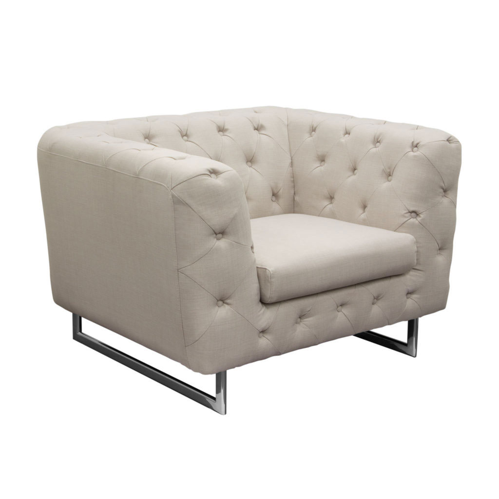 Catalina Tufted Chair with Metal Leg in Sand Fabric
