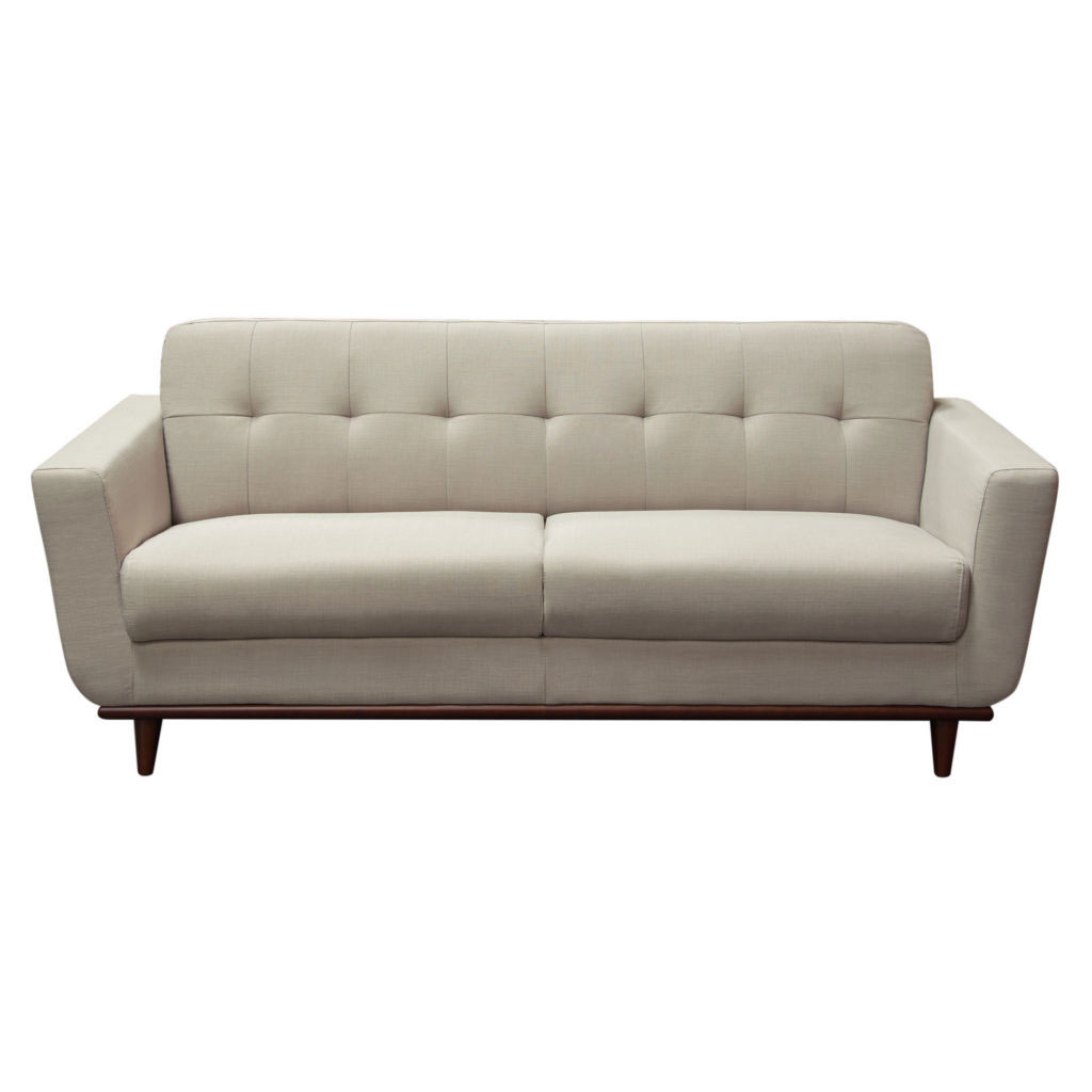 Coco Sofa in Sand Fabric with Wood Leg & Trim