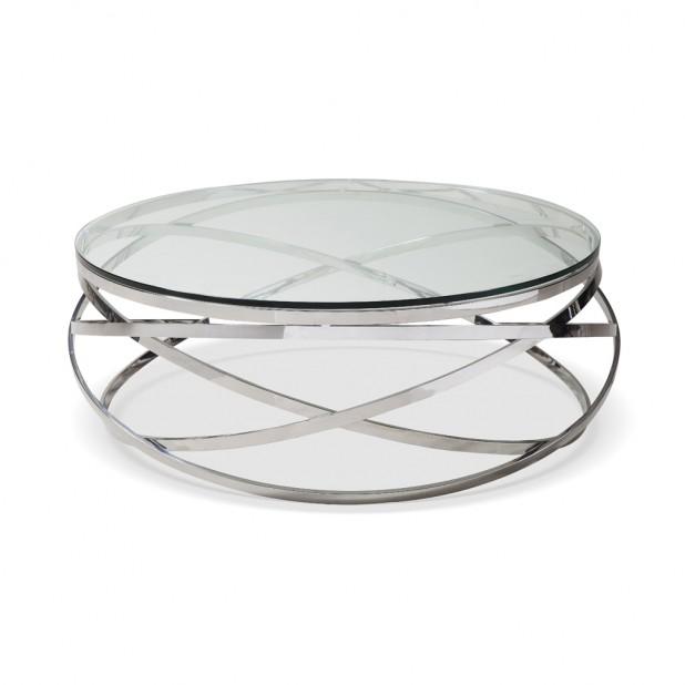 Mesa de centro redonda Sphere cromo y vidrio