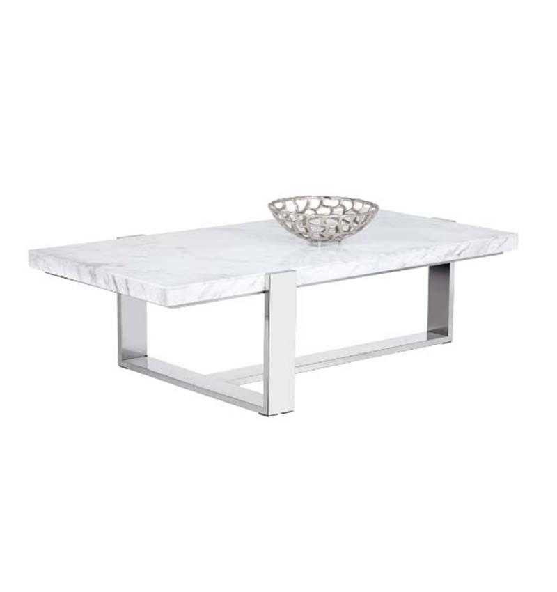 Mesa de centro rectangular con marmol blanco