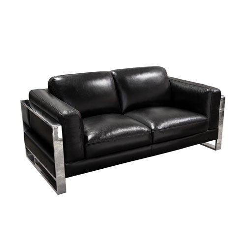 Annika Loveseat in Black Air Leather with Polished Stainless Steel Arm
