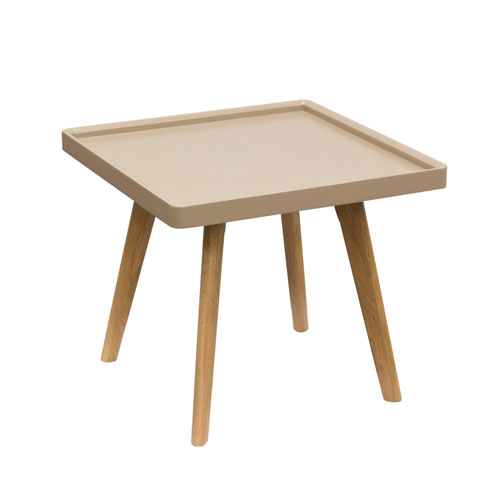 Caf Square End Table with Taupe Top & Oak Legs