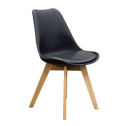 2-Pack Retro Inspired Dining Chairs with Solid Oak Frame – Black Leatherette (Mínimo de compra 2 piezas)