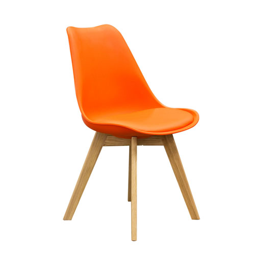 2-Pack Retro Inspired Dining Chairs with Solid Oak Frame – Orange Leatherette (Mínimo de compra 2 piezas)
