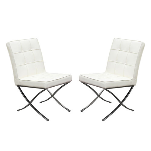 Set of (2) Cordoba Tufted Dining Chair w/ Stainless Steel Frame – White