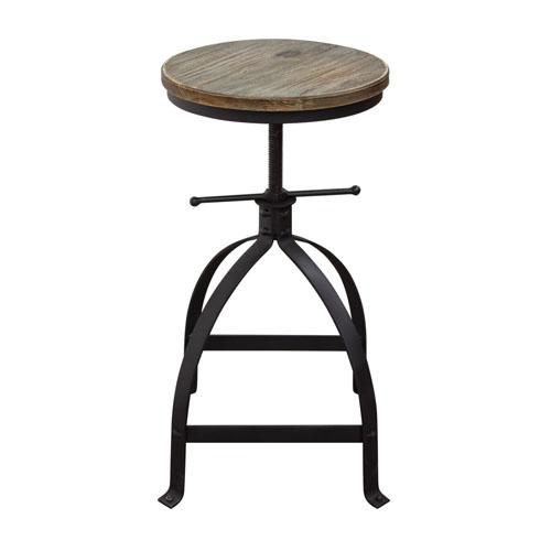 Set of (2) Davis Vintage Adjustable Height Stools with Weathered Grey Seat and Black Powder Coat Steel Base