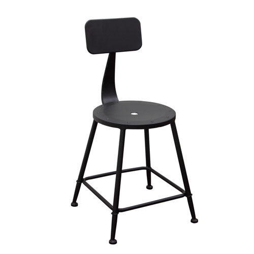 Set of (2) Douglas Vintage Stools in Black Powder Coat Steel