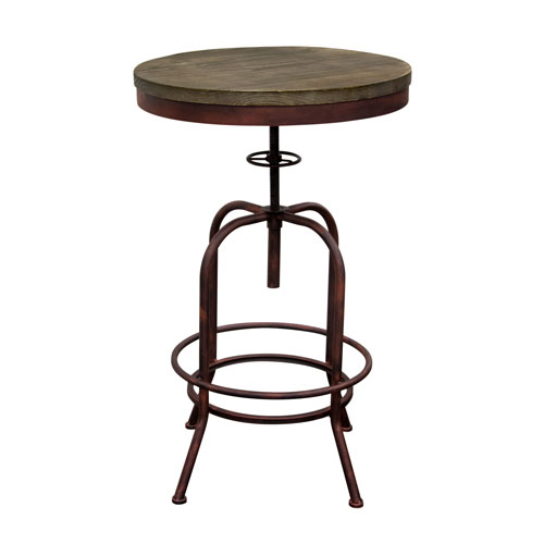 Fairfax Adjustable Height Bistro Table with Weathered Grey Top and Rust Black Iron Base