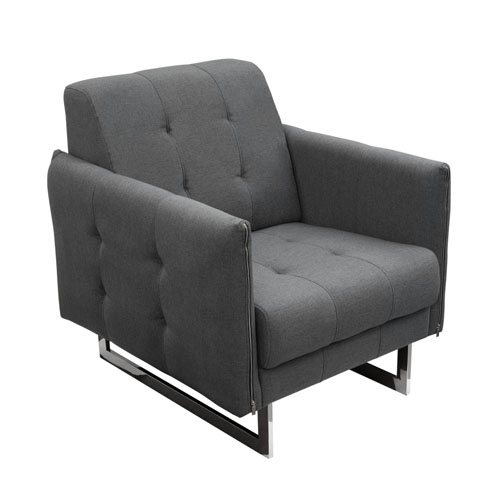 Hampton Accent Chair with Metal Leg in Graphite Fabric
