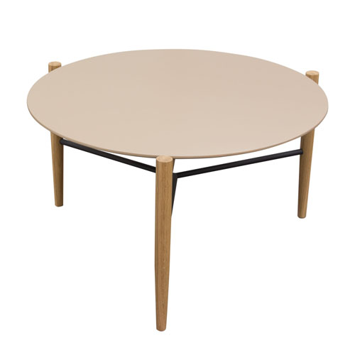 Karma Round Cocktail with Taupe Top and Oak Leg