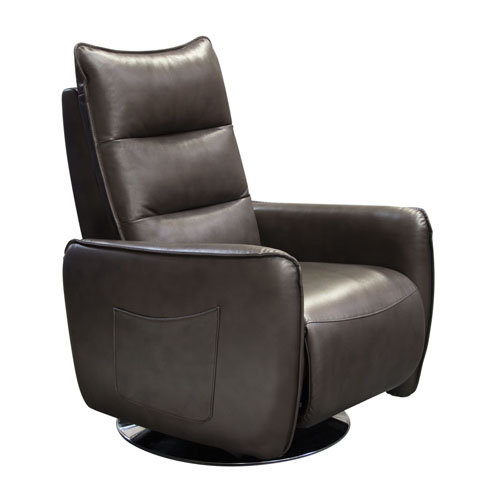 Keaton Push-Back Reclining Accent Chair in Chocolate Air Leather
