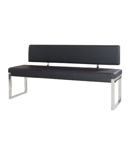 Knox Bench w/ Back & Stainless Steel Frame – Black