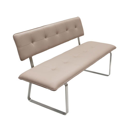 Maddox Bench with Tufted Seat & Back & Stainless Steel Base – Taupe