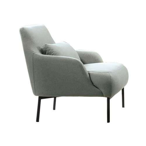 Melrose Chair in Mist Grey Fabric with Black Powder Coat Metal Legs