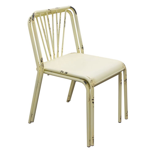 Set of (2) Mercer Vintage Metal Dining Chair in Antique White Finish