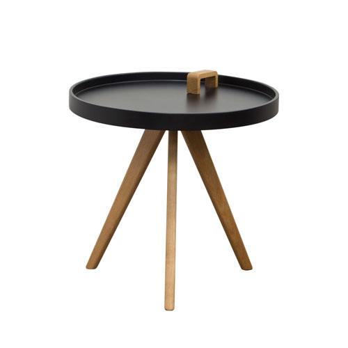 Mobi Accent Tray Table with Black Top and Oak Legs with Designer Handle