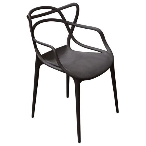 Newton 4-Pack Indoor/Outdoor Accent Chairs in Black Polypropylene (Mínimo de compra 4 piezas)