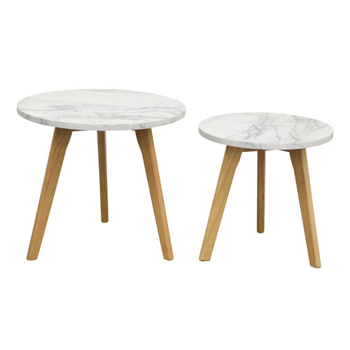 Pebble 2PC Nesting Set with Marble Finish Top and Oak Legs