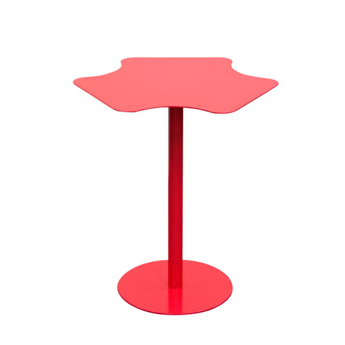 Peta Powder Coated Metal Accent Table in Matte Red finish