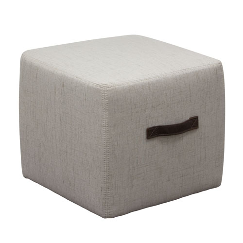 Ritz Cube Ottoman in Sand Faux Linen with Designer Handle