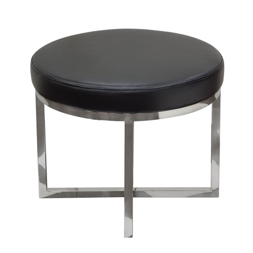Ritz Round Accent Stool with Padded Seat in Black Bonded Leather and Polished Stainless Steel Base