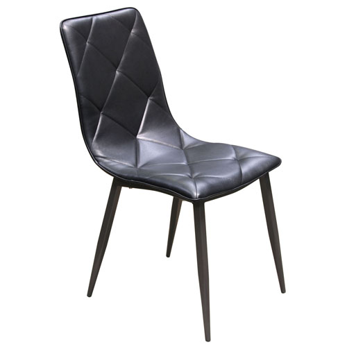 Sigma 2-Pack Dining Chair in Black Diamond Tuft Leatherette with Powder Coat Grey Metal Legs (Mínimo de compra 2 piezas)