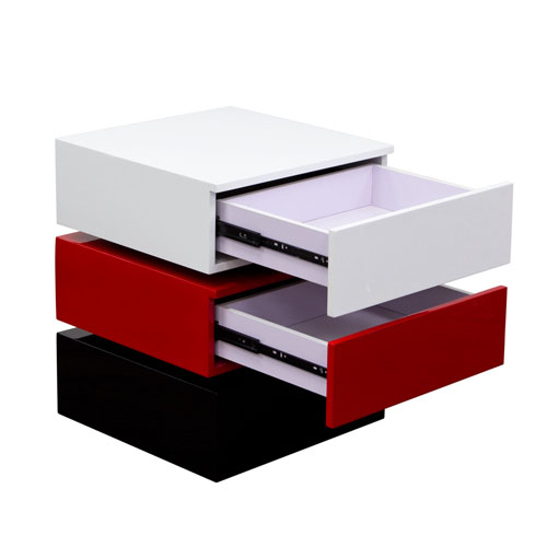 Tri-Color Accent Table w/ 2-Drawer Storage – BLACK/WHITE/RED