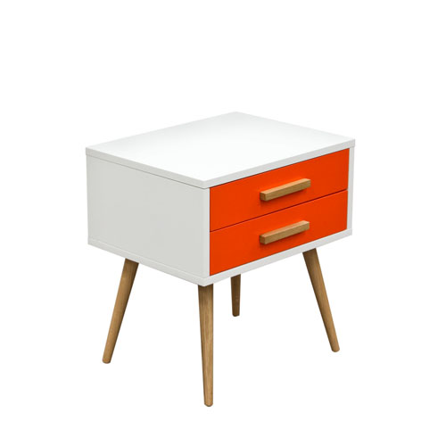 Tangent 2-Drawer Accent Table w/ White Top, Orange Drawers & Oak Legs