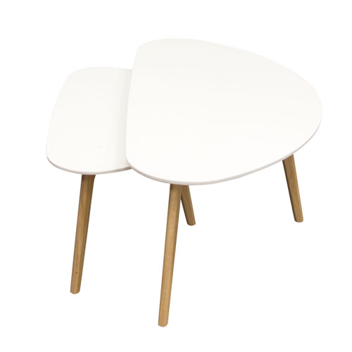 Terra 2PC Nesting Cocktail Table Set w/ White Tops & Oak Legs