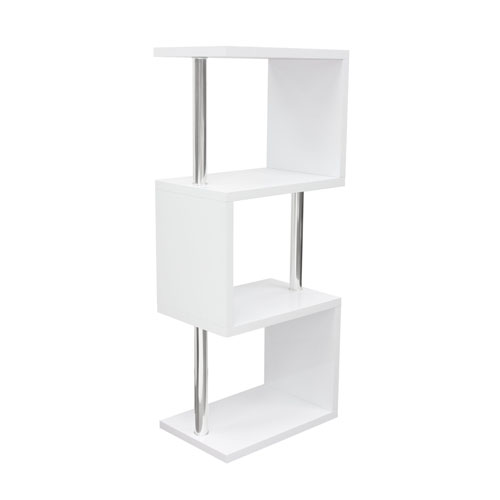 X3 Small Shelving Unit in White Lacquer with Metal Supports