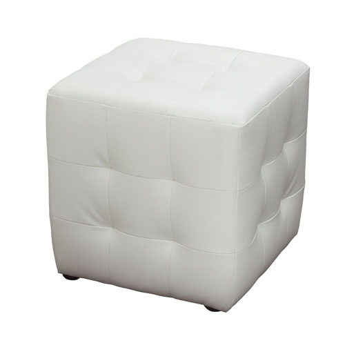 Zen Collection, Bonded Leather Tufted Cube Accent Ottoman