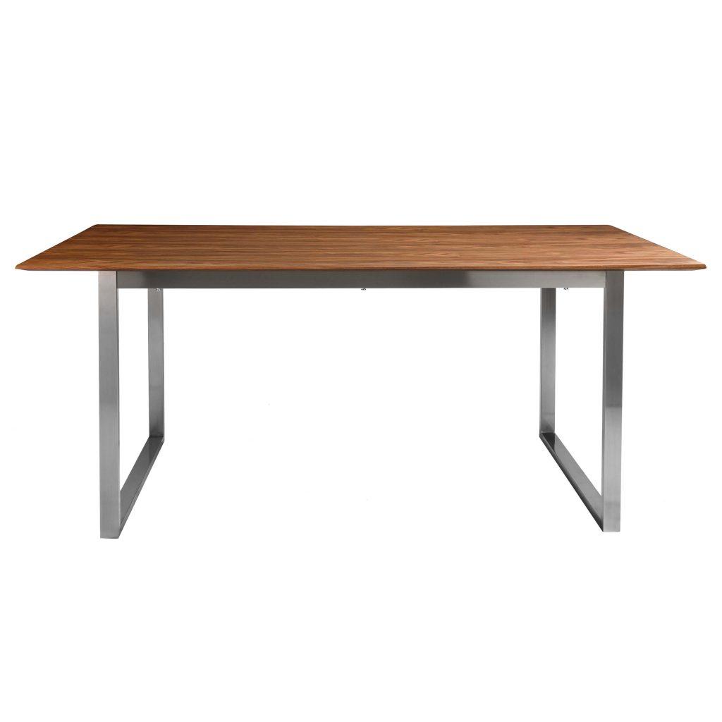 Mesa rect alva madera patas cromadas